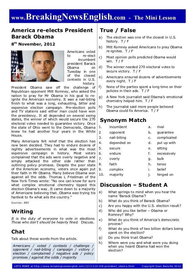 www.BreakingNewsEnglish.com - The Mini LessonAmerica re-elects President                               True / FalseBarack ...