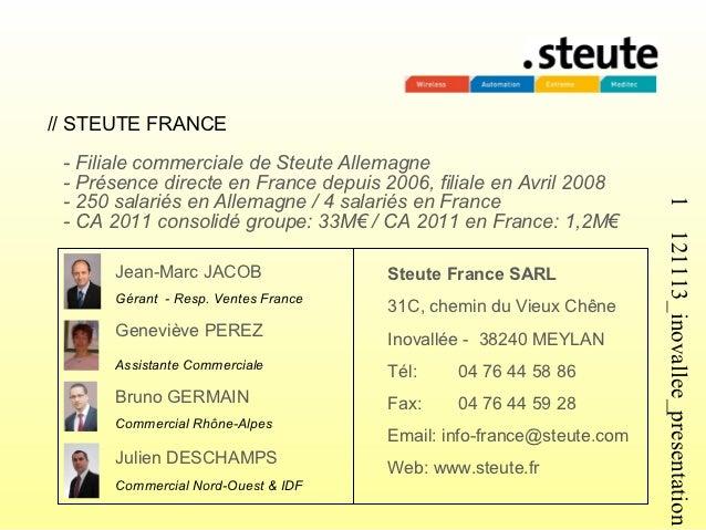 // STEUTE FRANCE - Filiale commerciale de Steute Allemagne - Présence directe en France depuis 2006, filiale en Avril 2008...