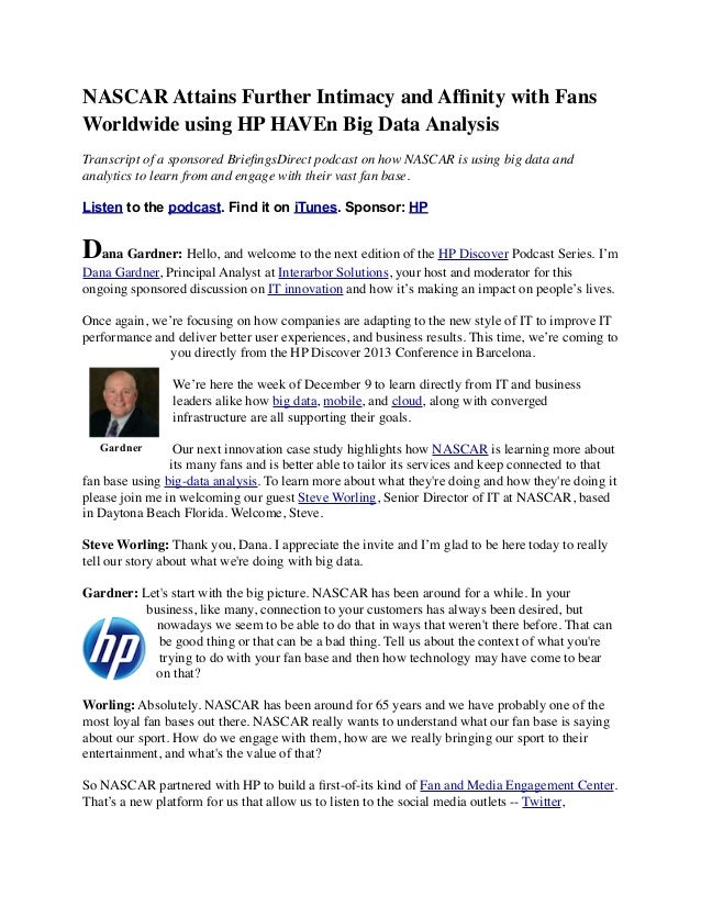 NASCAR Attains Further Intimacy and Affinity with Fans Worldwide using HP HAVEn Big Data Analysis