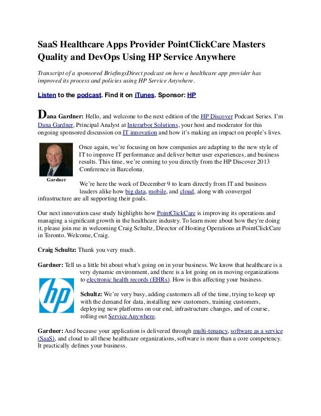 SaaS Healthcare Apps Provider PointClickCare Master Quality and DevOps Using HP Service Anywhere