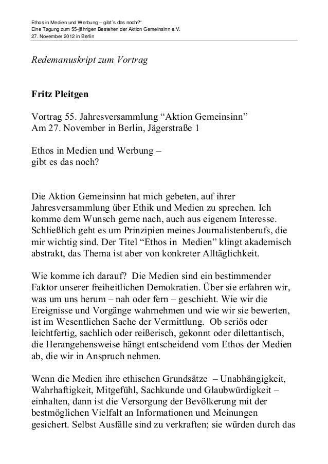 """Ethos in Medien und Werbung – gibt´s das noch?""""Eine Tagung zum 55-jährigen Bestehen der Aktion Gemeinsinn e.V.27. November..."""