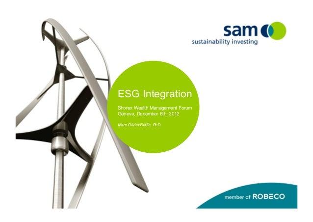 ESG IntegrationShorex Wealth Management ForumGeneva, December 6th, 2012Marc-Olivier Buffle, PhD