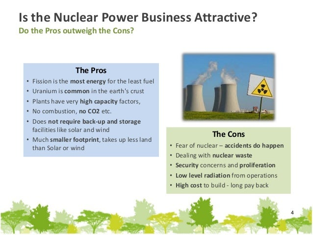 pros cons nuclear power plants essay Pros and cons of nuclear power what's nuclear power's biggest advantage it doesn't depend on fossil fuels and isn't affected by fluctuating oil and gas prices coal and natural gas power plants emit carbon dioxide into the atmosphere, which contributes to climate change.