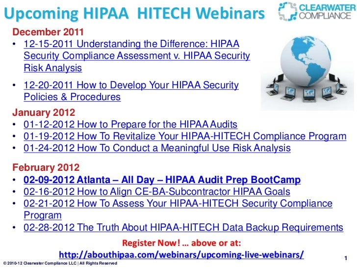 12 12 2011 Upcoming About Hipaa Hitech Webinars