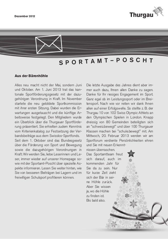 Dezember 2012                              S P O R T A M T – P O S C H TAus der BärenhöhleAlles neu macht nicht der Mai, ...