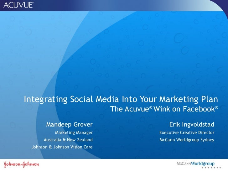 Integrating Social Media Into Your Marketing Plan The Acuvue ®  Wink on Facebook ® Mandeep Grover Marketing Manager Austra...
