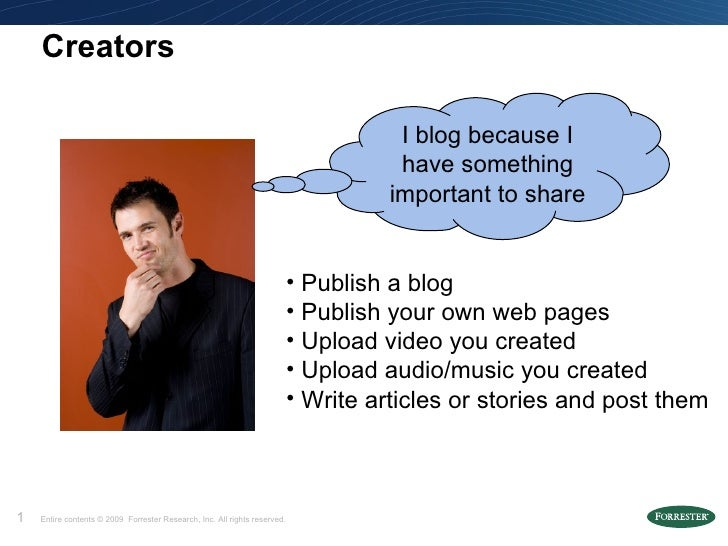 Creators <ul><li>Publish a blog </li></ul><ul><li>Publish your own web pages </li></ul><ul><li>Upload video you created  <...