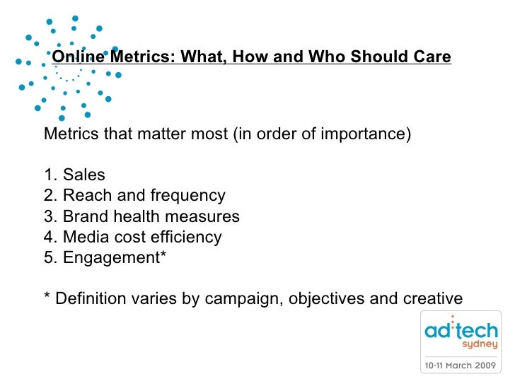 Online Metrics: What, How and Who Should Care ........NicoleStill