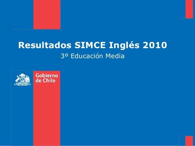 Resultados SIMCE Inglés 2010        3º Educación Media