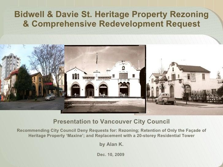 1215 Bidwell, Alan To Vancouver City Council, 10 Dec 2009