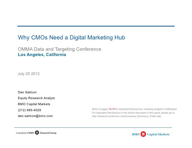 Why CMOs Need a Digital Marketing HubOMMA Data and Targeting ConferenceLos Angeles, CaliforniaJuly 25 2012Dan SalmonEquity...