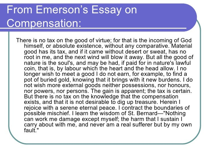 emerson self reliance essay online In ralph waldo emerson's essay the self-reliance i found him and his essay to be quite interesting and intriguing he had such persuading arguments to stimulate any individual's mind to me ralph waldo emerson was smart, caring, passionate, an innovative essayist, and poet as well.