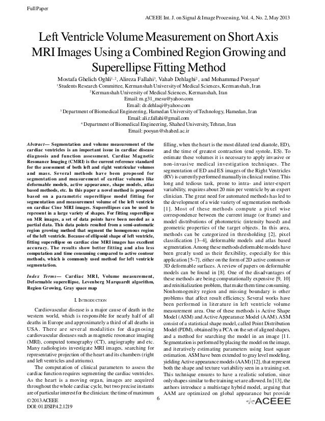 Full Paper ACEEE Int. J. on Signal & Image Processing, Vol. 4, No. 2, May 2013  Left Ventricle Volume Measurement on Short...