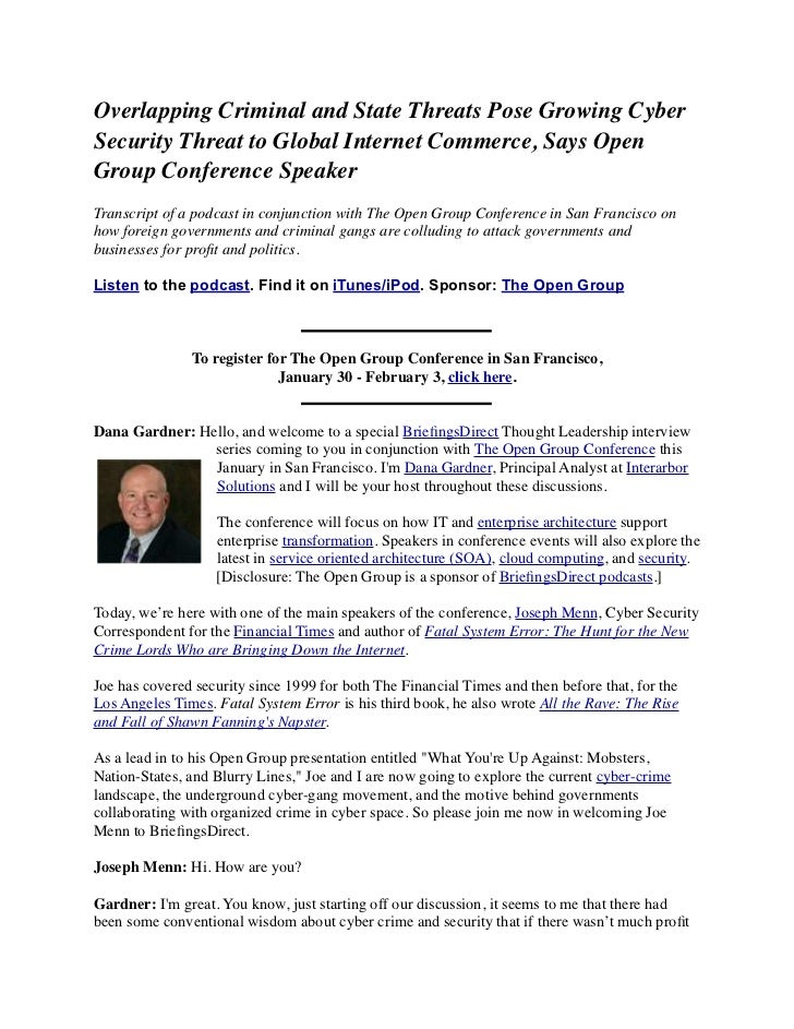 Overlapping Criminal and State Threats Pose Growing Cyber Security Threat to Global Internet Commerce, Says Open Group Conference Speaker