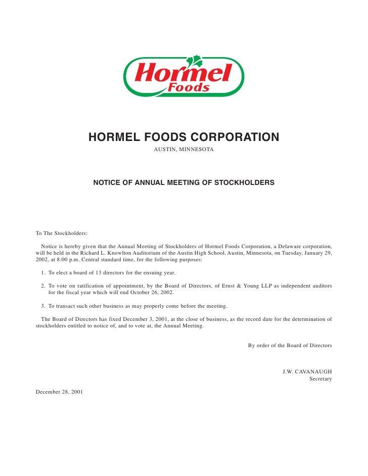 hormel foods  2001_proxy