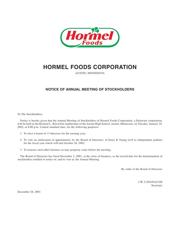 HORMEL FOODS CORPORATION                                                  AUSTIN, MINNESOTA                             NO...