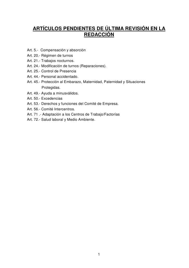 ARTÍCULOS PENDIENTES DE ÚLTIMA REVISIÓN EN LA                    REDACCIÓNArt. 5.- Compensación y absorciónArt. 20.- Régim...