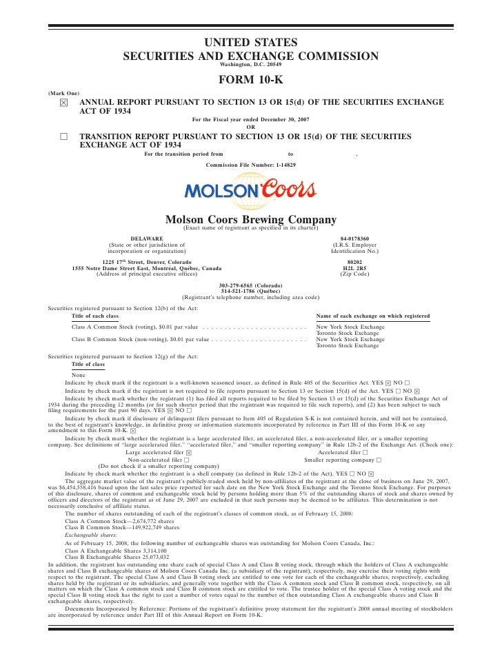 molson coors brewing   200710K