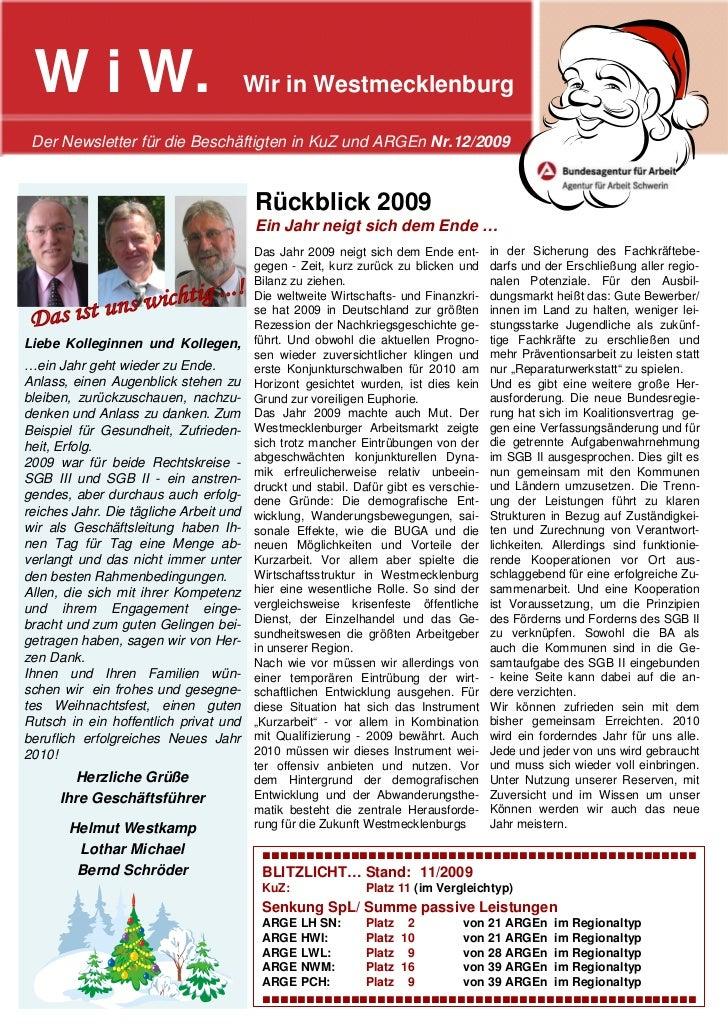 W i W.                                 Wir in Westmecklenburg Der Newsletter für die Beschäftigten in KuZ und ARGEn Nr.12/...