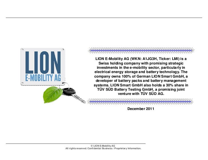 LION E-Mobility AG (WKN: A1JG3H, Ticker: LMI) is a                            Swiss holding company with promising strateg...