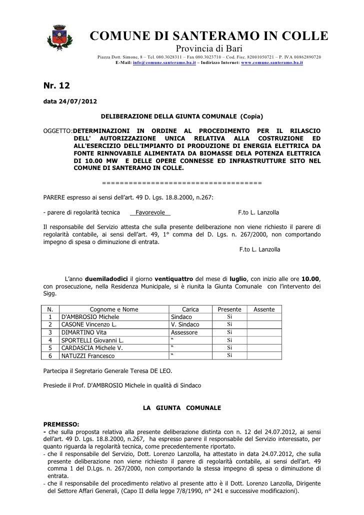 COMUNE DI SANTERAMO IN COLLE                                                         Provincia di Bari                    ...