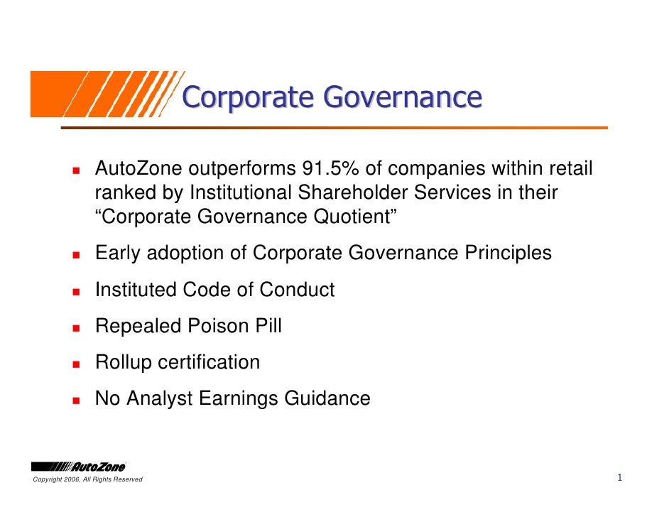 Corporate Governance                     AutoZone outperforms 91.5% of companies within retail                    ranked b...