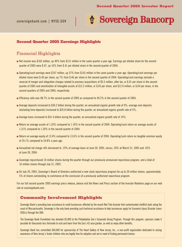 Second Quarter 2005 Investor Report    sovereignbank.com|NYSE:SOV     Second Quarter 2005 Earnings Highlights   Financia...