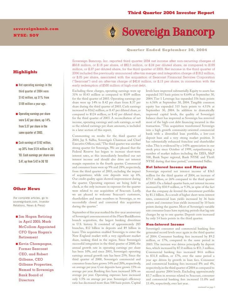 Third Quarter 2004 Investor Report   sovereignbank.com NYSE: SOV                                                          ...
