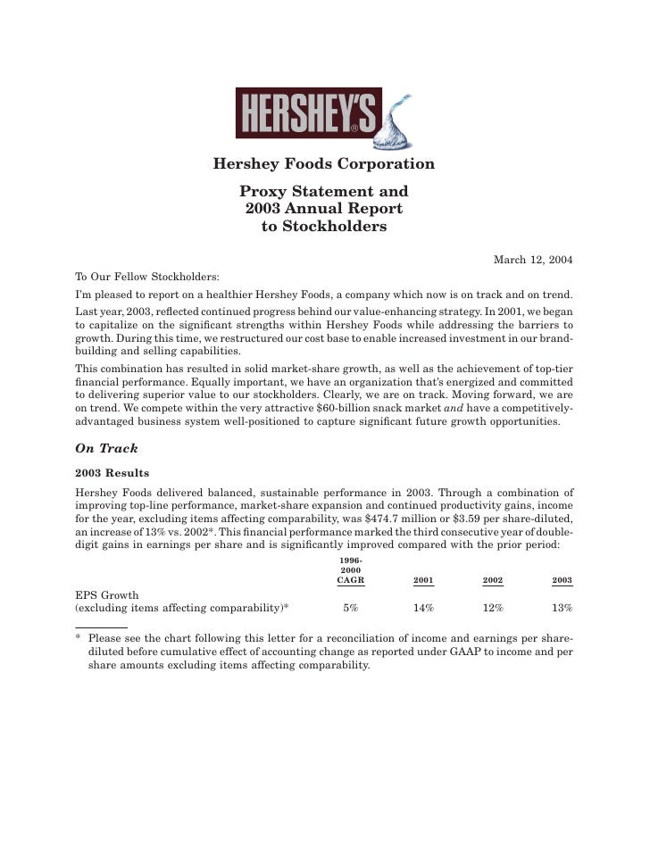 Hershey Foods Corporation                                  Proxy Statement and                                   2003 Annu...