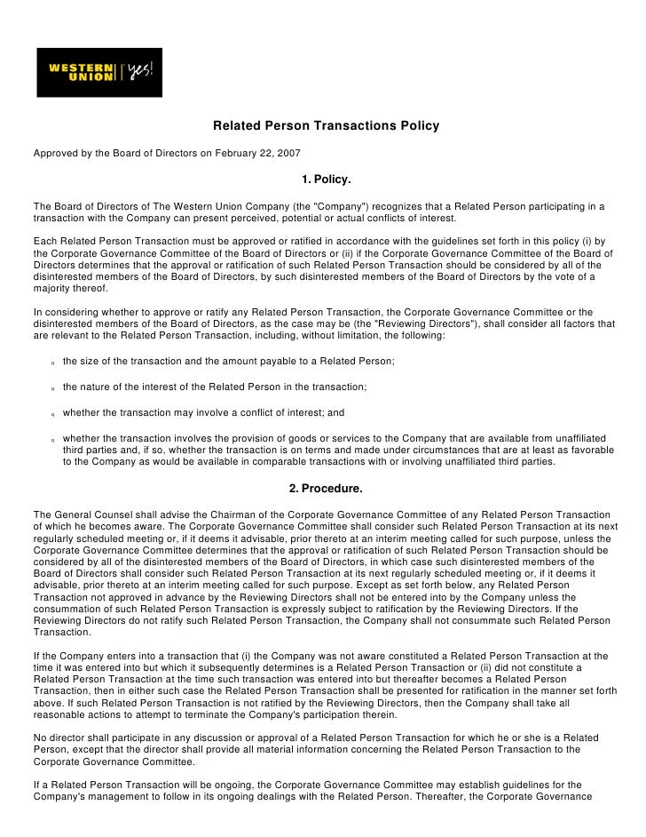 Related Person Transactions Policy  Approved by the Board of Directors on February 22, 2007                               ...