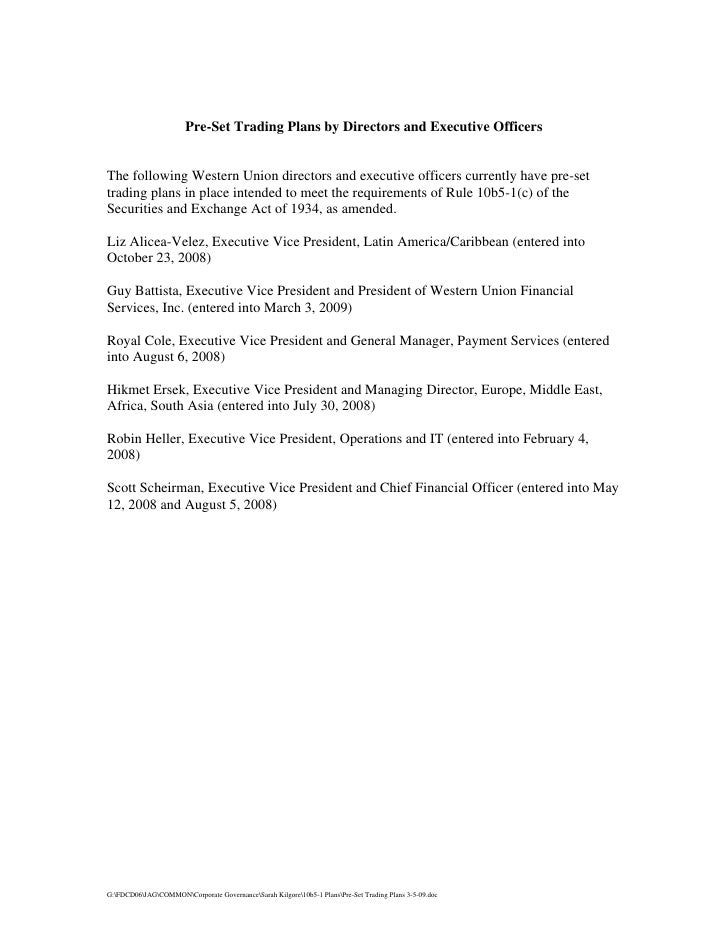western union  Pre-Set Trading Plans by Directors and Executive Officers