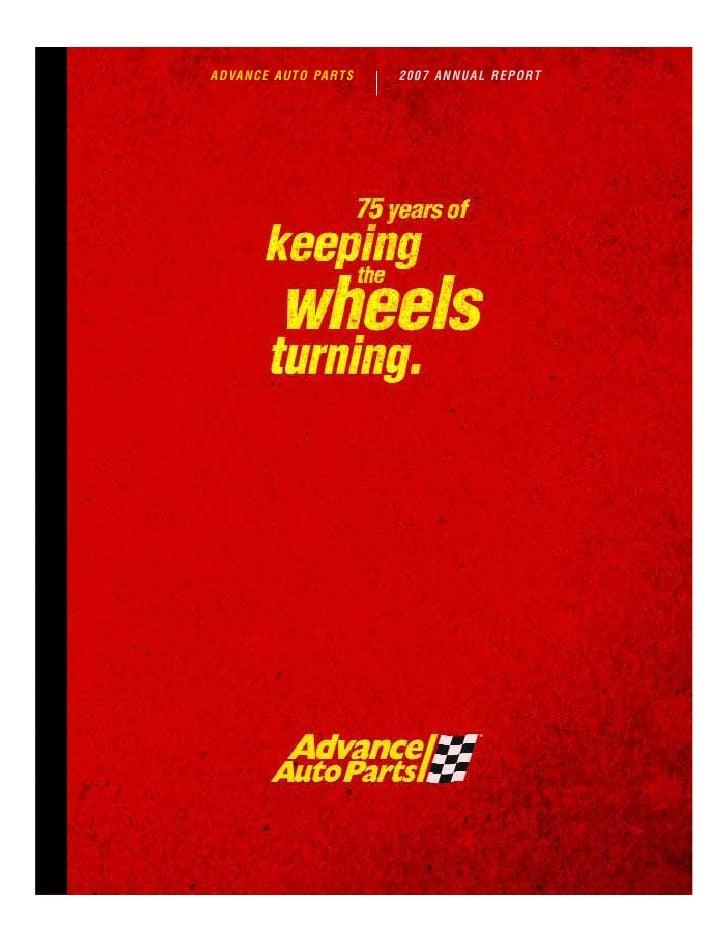ADVANCE AUTO PARTS   2007 ANNUAL REPORT