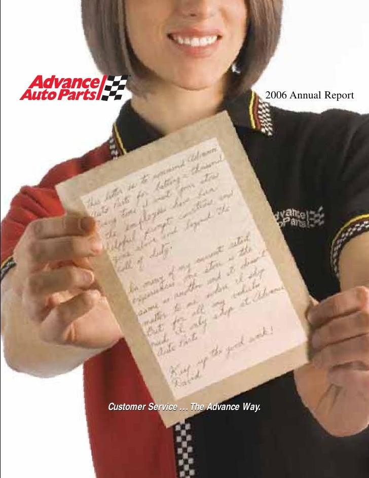 2006 Annual Report     Customer Service ...The Advance Way.