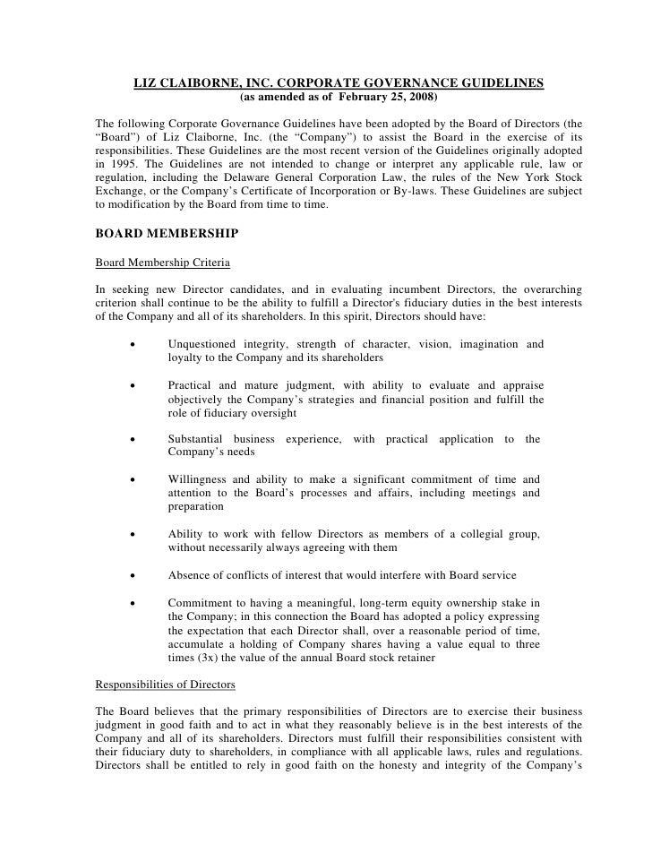 liz claiborne CorporateGovernanceGuidelines(final)
