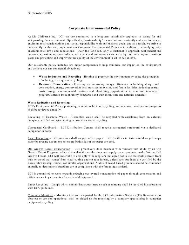 liz claiborne environmentalpolicy0906052