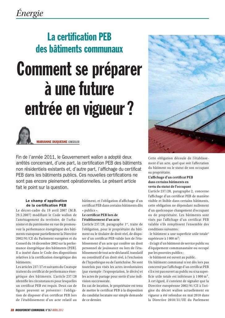 Énergie                     La certification PEB                  des bâtiments communaux    Comment se préparer        à u...