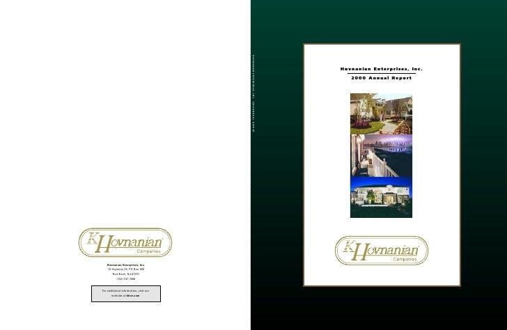 HOVNANIAN ENTERPRISES, INC. 2000 ANNUAL REPORT                                                                            ...