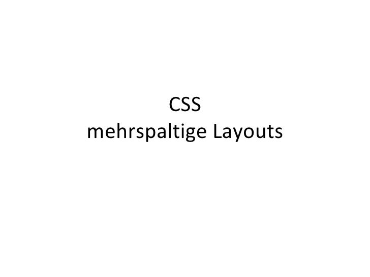 CSS mehrspaltige Layouts