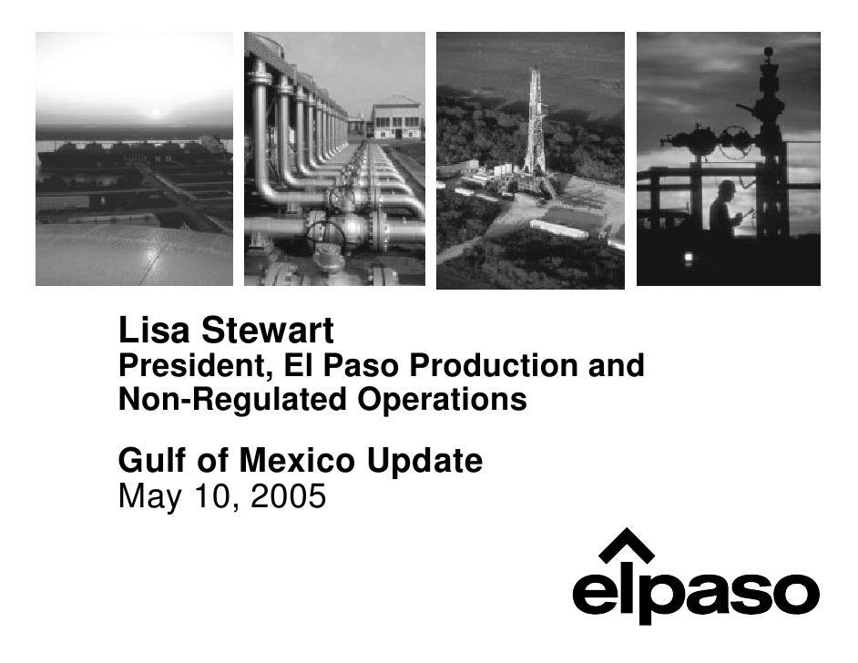 Lisa Stewart President, El Paso Production and Non-Regulated Operations Gulf of Mexico Update May 10, 2005