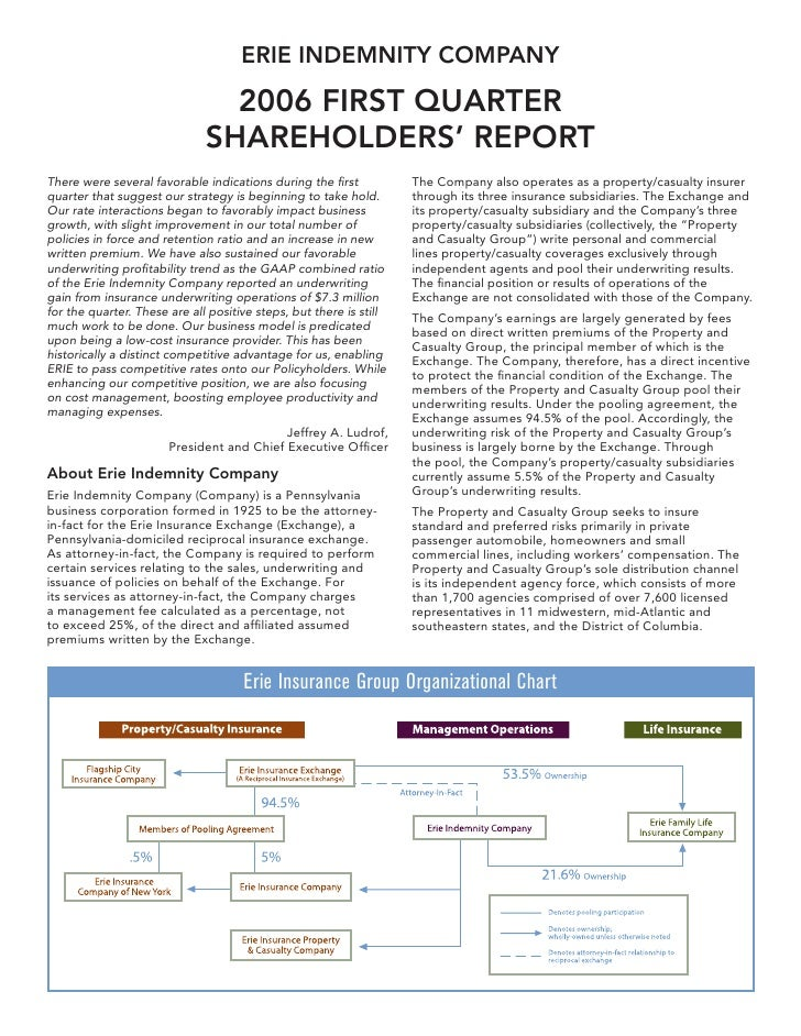 ERIE INDEMNITY COMPANY                                  2006 FIRST QUARTER                               SHAREHOLDERS' REP...