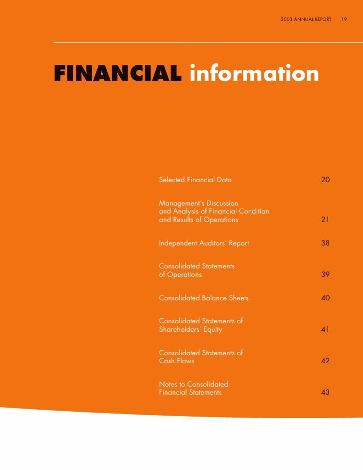 2003 ANNUAL REPORT   19     FINANCIAL information            Selected Financial Data                             20       ...