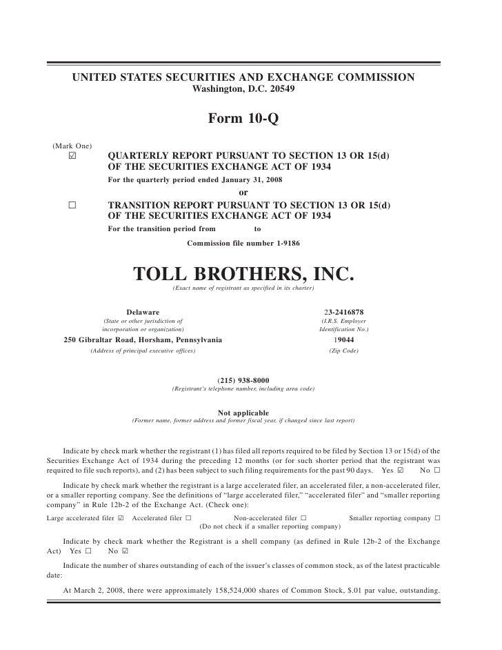 tollbrothers   10-Q_jan_2008