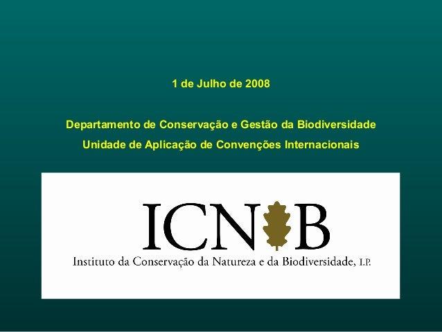 1 de Julho de 2008 Departamento de Conservação e Gestão da Biodiversidade Unidade de Aplicação de Convenções Internacionais