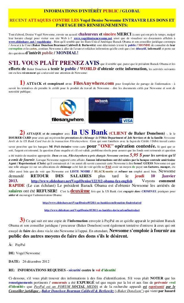 INFORMATIONS DINTÉRÊT PUBLIC / GLOBALRECENT ATTAQUES CONTRE LES Vogel Denise Newsome ENTRAVER LES DONS ET                 ...