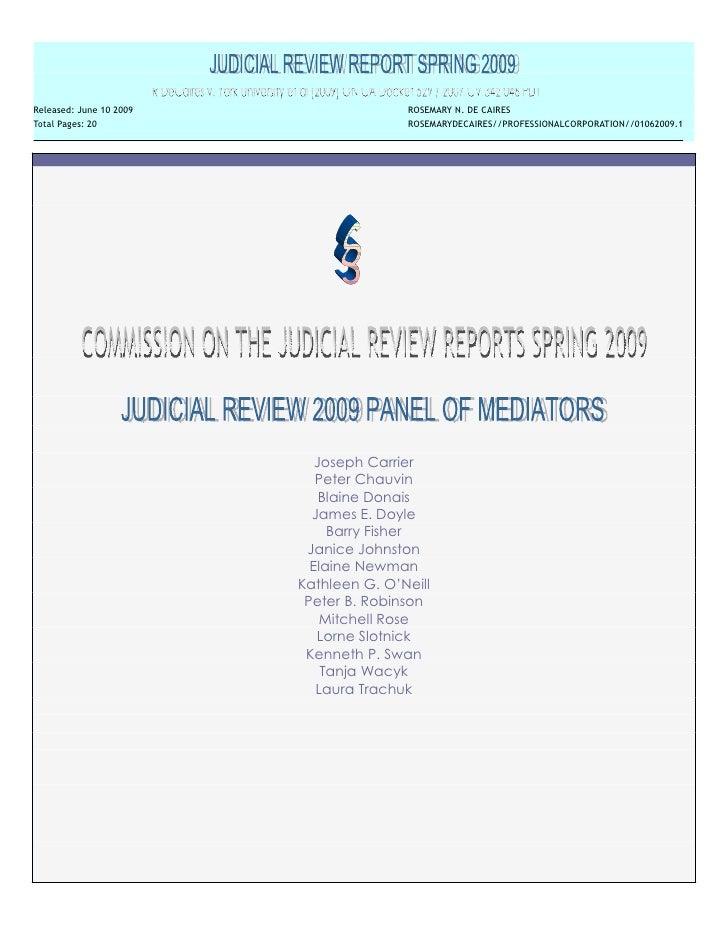 JUDICIAL REVIEW REPORT 2009 [Mediators]