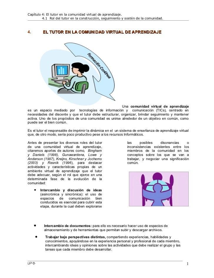 Capítulo 4: El tutor en la comunidad virtual de aprendizaje.         4.1 Rol del tutor en la construcción, seguimiento y s...