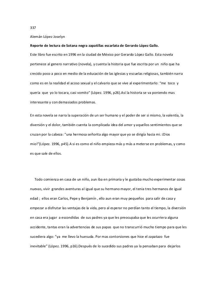 337Alemán López JoselynReporte de lectura de Sotana negra zapatillas escarlata de Gerardo López Gallo.Este libro fue escri...