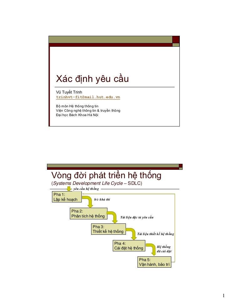 Xác định yêu cầu  Vũ Tuyết Trinh  trinhvt-fit@mail.hut.edu.vn  Bộ môn Hệ thông thông tin  Viện Công nghệ thông tin & truyề...