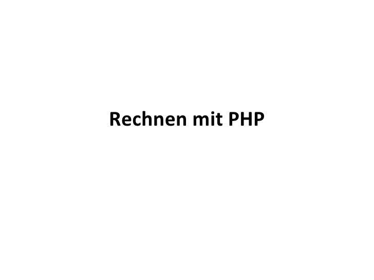 Rechnen mit PHP