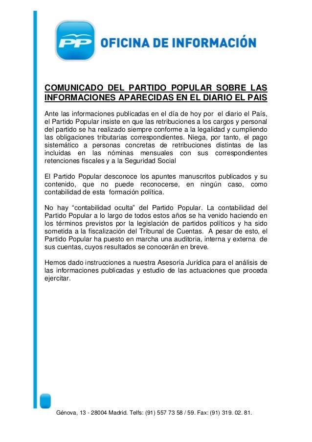 COMUNICADO DEL PARTIDO POPULAR SOBRE LASINFORMACIONES APARECIDAS EN EL DIARIO EL PAISAnte las informaciones publicadas en ...